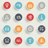 Travel icons with color buttons on gray background. Royalty Free Stock Images