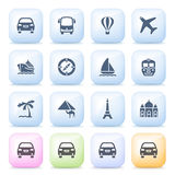 Travel icons on color buttons. Stock Photography