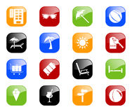 Travel Icons - Color Series. Set of 16 internet icons. Additional format includes each icon in five color variations Stock Photos