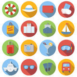 Travel icons colored set. Travel icons set, colored flat images with long shadow in circle, on white background Royalty Free Stock Image