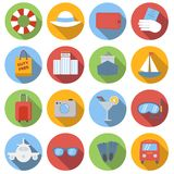 Travel icons colored set. Travel icons set, colored flat images with long shadow in circle, on white background stock illustration
