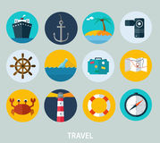 Travel icons, flat design of icons for web and mobile Royalty Free Stock Images
