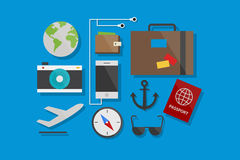 Travel Icons Flat Design Vector Illustration Element and Icons Set Stock Photo
