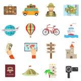 Travel Icons Flat Stock Image