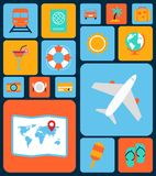 Travel icons flat set Royalty Free Stock Photography