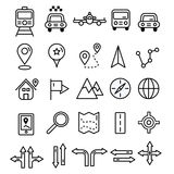 Travel icons in flat solid line design. Map markers and transpor Royalty Free Stock Images