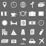 Travel icons on gray background Royalty Free Stock Images