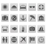 Travel icons on gray squares Royalty Free Stock Photos