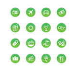 Travel icons green. Travel icons - green circles on white background Stock Photography