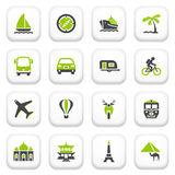 Travel icons. Green gray series. Stock Images