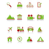 Travel Icons - Green-Red Series Stock Photos