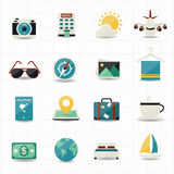 Travel icons and hotel icons. This image is a vector illustration Stock Photography