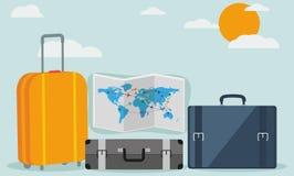 Travel icons isolated on stylish background Stock Image
