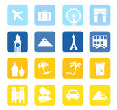 Travel icons and landmarks big collection. 16 travel design blocks isolated on white background Royalty Free Stock Image