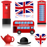 Travel Icons - London and UK. Set of travel icons, London and the United Kingdom Royalty Free Stock Photo
