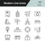 Travel icons. Modern line design set 11. Vector illustration. Travel icons. Modern line design set 11. For presentation, graphic design, mobile application, web stock illustration