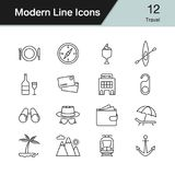 Travel icons. Modern line design set 12. Vector illustration. Travel icons. Modern line design set 12. For presentation, graphic design, mobile application, web royalty free illustration