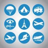 Travel icons. Nine round blue travel icons Royalty Free Stock Photo