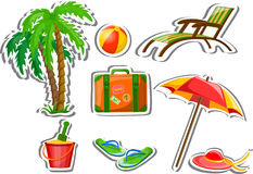 Travel icons, palm, ball, lounge,vector. Travel icons, palm, ball, lounge, umbrella, bucket with a shovel, flip-flops and suitcase, vector illustration picture Stock Images