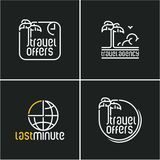 Travel icons. Palm tree line vector icon, travel offers, travel agency logo, last minute stock illustration