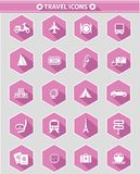 Travel icons,Pink version Stock Photo