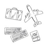 Travel icons with plane, bag, tickets and passport Royalty Free Stock Image