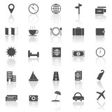 Travel icons with reflect on white background Stock Photo