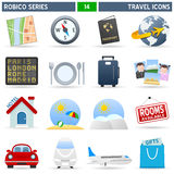 Travel Icons - Robico Series. Collection of 16 colorful travel and vacation icons, isolated on white background. Robico Series: check my portfolio for the Royalty Free Stock Photography