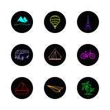 Travel icons round color Royalty Free Stock Image