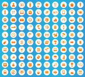 100 Travel icons round set. 100 Travel icons set, orange image in white circle on blue background Royalty Free Stock Image