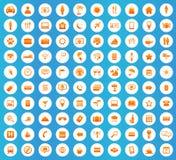 100 Travel icons round set Royalty Free Stock Image