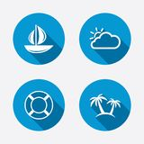 Travel icons. Sail boat with lifebuoy signs Royalty Free Stock Photography