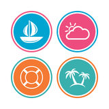 Travel icons. Sail boat with lifebuoy signs. Stock Photos