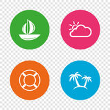 Travel icons. Sail boat with lifebuoy signs. Royalty Free Stock Image