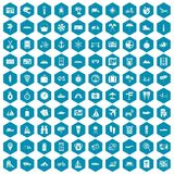 100 travel icons sapphirine violet. 100 travel icons set in sapphirine hexagon isolated vector illustration Stock Photography