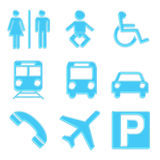 Travel icons set. A set of icons used in public places Stock Photography