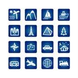 Travel icons set. On the blue background Stock Photos