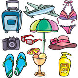 Travel icons set. Travel, vacation, beach icons set Royalty Free Stock Images