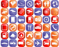 Travel icons set. Biggest collection of different travel icons for using in web design Stock Photography