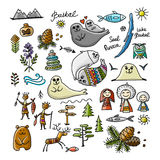 Travel icons set, Baikal, Russia. Sketch for your design Royalty Free Stock Photos