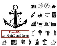 24 Travel Icons. Set of 24 Travel Icons in Black Color Stock Photos