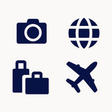 Travel icons set. Camera, suitcase, globe and airplane, simple monochrome vector signs Royalty Free Stock Photo