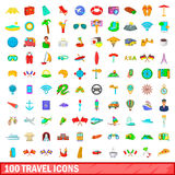 100 travel icons set, cartoon style. 100 travel icons set in cartoon style for any design vector illustration Royalty Free Stock Photo