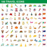 100 travel icons set, cartoon style. 100 travel icons set in cartoon style for any design vector illustration Royalty Free Stock Photos