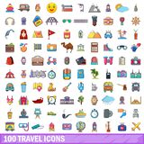 100 travel icons set, cartoon style. 100 travel icons set in cartoon style for any design vector illustration Stock Image