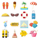 Travel Icons set, cartoon style Stock Image