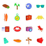 Travel icons set, cartoon style Royalty Free Stock Photography