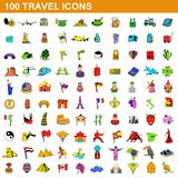 100 travel icons set, cartoon style. 100 travel icons set in cartoon style for any design illustration royalty free illustration