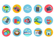 Travel icons set in colored circle shapes. Vector illustrations in flat style. Summer travel icons, vacation and trip Stock Images