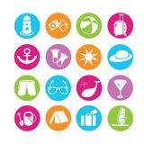 Travel icons. Set of 16 travel icons in colorful buttons royalty free illustration